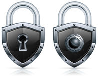 Padlock shield. Black metal padlock in shape of shield on white, vector illustration Royalty Free Stock Photos