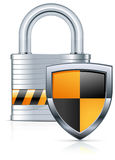 Padlock and shield. Metal padlock and two color shield on white, vector illustration Royalty Free Stock Photography