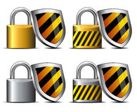 Padlock with Shield Icon - Safeguard your transact Royalty Free Stock Photography