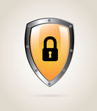 Padlock shield. Over beige background vector illustration Stock Photo