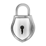 Padlock with shield shape body and shackle Stock Image