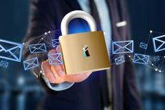 Padlock Sicherheitsverbindung auf einem Farbhintergrund - 3d Lizenzfreie Stockfotografie