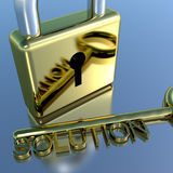 Padlock With Solution Key Showing Strategy Planning And Success Stock Image
