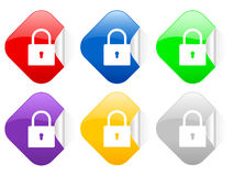 Padlock square stickers Royalty Free Stock Photos
