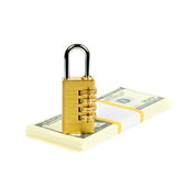 Padlock on a stack of dollars Stock Photography