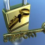 Padlock With Support Key Showing Advice Help And Information Royalty Free Stock Images