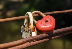 Padlock, a symbol of eternal love and memory of lovers stock photography