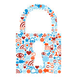 Padlock symbol with media icons texture Stock Photos