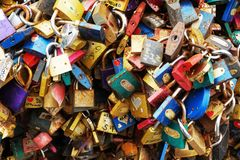 padlock texture as tourist vandalism royalty free stock photo