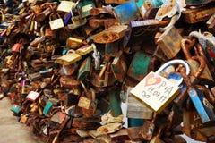 padlock texture as tourist vandalism royalty free stock photos