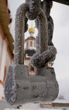 Padlock to the monastery of Valdai Stock Images