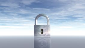 Padlock under blue sky Stock Photos