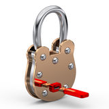 Padlock and usb key Stock Images