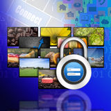 Padlock username password on internet production technology conc Stock Photo