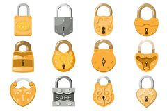 Padlock vector lock for safety and security protection with locked secure mechanism to interlock or lockout locking. System illustration set isolated on white Royalty Free Stock Photo