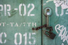 Padlock. View of padlock in detail. look old Stock Photography