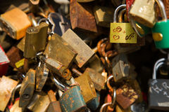 Padlock wall close-up picture, symbols of forever love Stock Photography