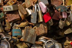 Padlock wall close-up picture, symbols of forever love Royalty Free Stock Images