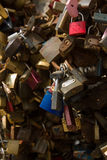 Padlock wall close-up picture, symbols of forever love Stock Photos
