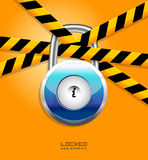 Padlock. Website padlock locked on orange screen Royalty Free Stock Image