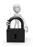 Padlock. White guy and padlock on white background - 3d illustration Royalty Free Stock Photos