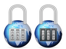 Padlock world globe Stock Photo