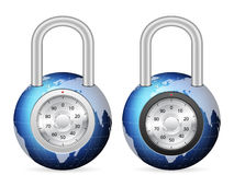 Padlock world globe Stock Image