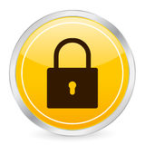 Padlock yellow circle icon Royalty Free Stock Photography
