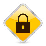 Padlock yellow square icon Stock Images