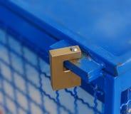 Padlocked on blue iron fridge Royalty Free Stock Photos