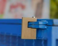 Padlocked on blue iron fridge Royalty Free Stock Photography