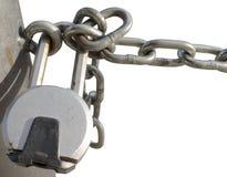 Padlocked chain Stock Photo