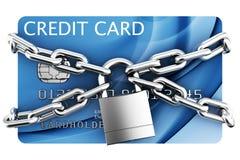 Padlocked credit card. 3d rendering of padlocked credit card Royalty Free Stock Photos