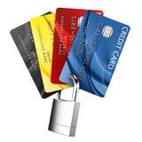 Padlocked credit card. 3d rendering of padlocked credit cards Stock Images