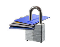 Padlocked credit cards, isolated Royalty Free Stock Image