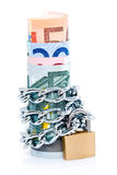Padlocked Euro bank notes Royalty Free Stock Photography