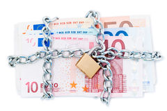 Padlocked Euro bank notes Stock Photography
