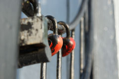 Padlocked on metal rods concrete the structure Royalty Free Stock Image