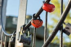 Padlocked on metal rods concrete the structure Royalty Free Stock Photos