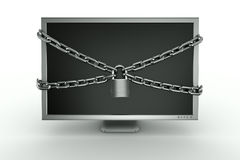 Padlocked monitor Stock Photos