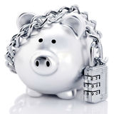 Padlocked piggy bank Stock Photos