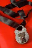 Padlocked silk Stock Photo