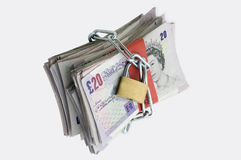 Padlocked wad of English money Stock Photography