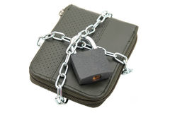 Padlocked wallet Royalty Free Stock Images