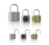 Padlockers verrouillés et déverrouillés de securite en métal Images libres de droits