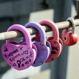 Padlocks выведенные на мост Стоковые Фотографии RF
