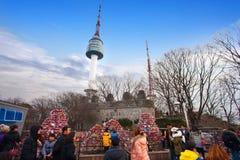 Padlocks влюбленности на башне Сеула Стоковое Изображение