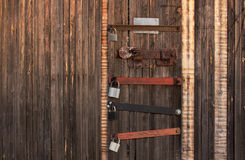 Padlocks на двери гаража Стоковое фото RF