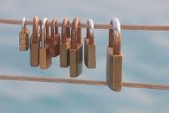 Padlocks на перилах Стоковое Изображение RF