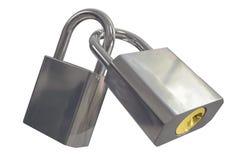 Padlocks. Two padlocks locked together including clipping path Royalty Free Stock Photos